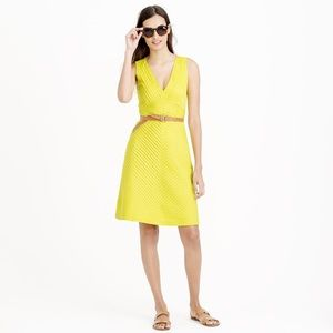J. Crew pleated Chevron yellow a line dress
